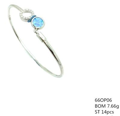 925 SILVER OPAL CHARM CUFF BANGLE,ROUND CZ AND OPAL, 66OP06