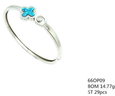 925 SILVER LAB OPAL CROSS FLOWER CUFF BANGLE, 66OP09