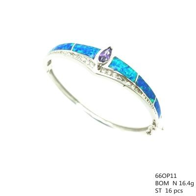 925 SILVER LAB OPAL BANGLE WITH TANZNITE CZ STONE , 66OP11-TZ