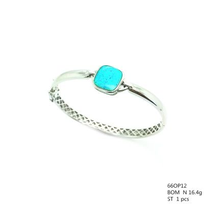 925 SILVER LAB BLUE OPAL BANGLE SQUARE OPAL ,66OP12-OP