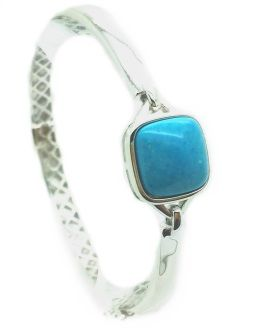 925 SILVER BANGLE SQUARE TURQUOISE SHAPE ,66OP12-TQ