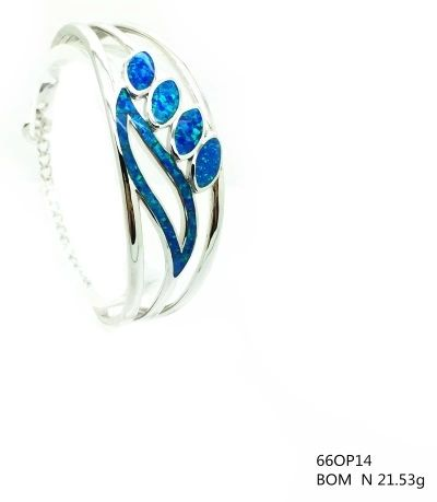 925 SILVER LAB OPAL LEAF BANGLE, 66OP14-K5