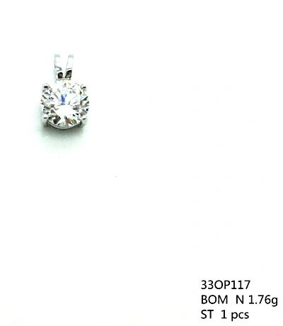 925 silver solider single stone pendant with 7mm white cz , 33op117-WH