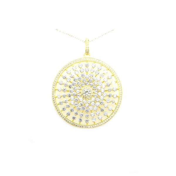 925 SILVER SUN CZ PENDANT IN GOLD PLATING ,33153-GD