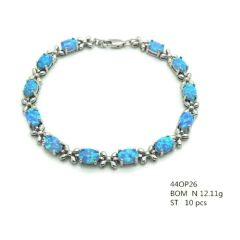 925 SILVER LAB FIRE BLUE OPAL OVAL FLOWER BRACELETS ,44OP26-K5