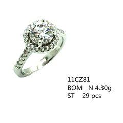 925 SILVER WHITE CUBIC ZIRCONIUM STONE ROUND HALLO RING,11CZ81-WH