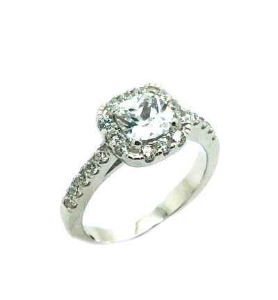 925 SILVER MICROPAVE-SQUARED SETTING RING (11CZ88)