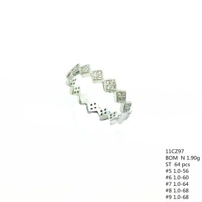 925 STERLING SILVER WHITE CZ SQUARE ETERNITY BAND RING, 11CZ97-WH