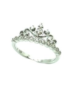 925 sterling silver micro white cz crown band ring-11cz106-wh