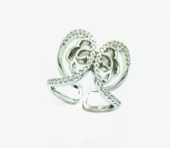 925 STERLING SILVER BUTTERFLY WIDE ADJUSTABLE RING, 11CZ110-WH