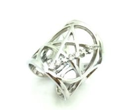 925 SILVER JEWISH STAR ADJUSTABLE KNUCKLE RING , 11CZ133-WH
