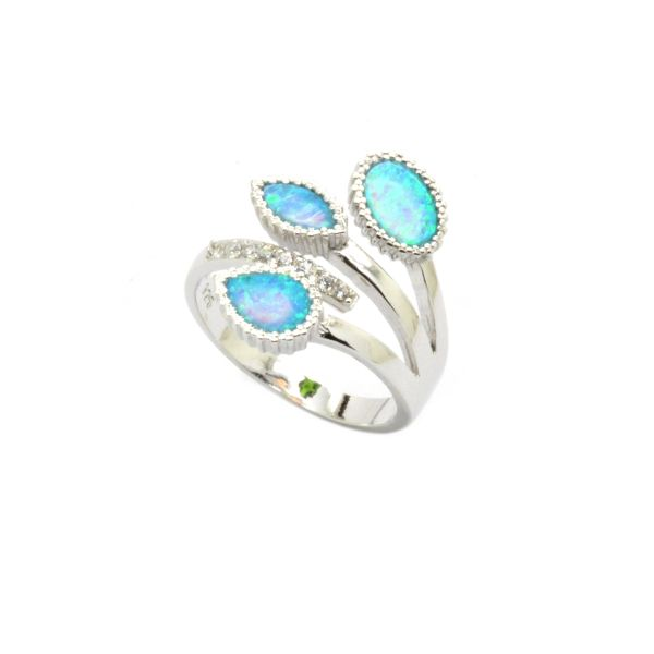 925 STERLING SILVER 3TRIPLE SIMULATED OPAL COLOR LEAF RING, 11CZ140-K5