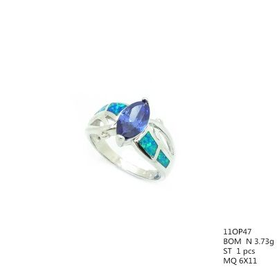 925 STERLING SILVER LAB OPAL MARQUISE LEAF RING-11OP47-K5