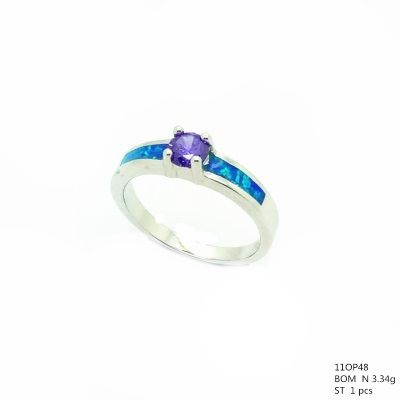 925 STERLING SILVER LAB OPAL SOLIDER RING-11OP48-K5-AMETHYST