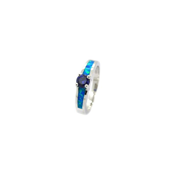 925 STERLING SILVER LAB OPAL SOLIDER RING-11OP48-K5-TANZNITE