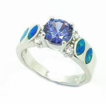 925 STERLING SILVER LAB OPAL 4 STONE RING-11OP49-K5-AMTHYST