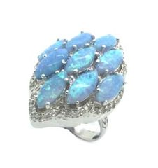 925 ST, SILVER MARQUISE VINTAGE LAB BLUE OPAL RING, 11OP51-K6