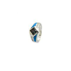 925 ST,SILVER LAB BLUE OPAL PRINCESS CUT MYSTIC CZ RING,11OP56-K5-MY