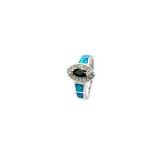 925 ST,SILVER LAB WHITE OPAL MARQUISE MYSTIC CZ RING-11OP62-K5-MY