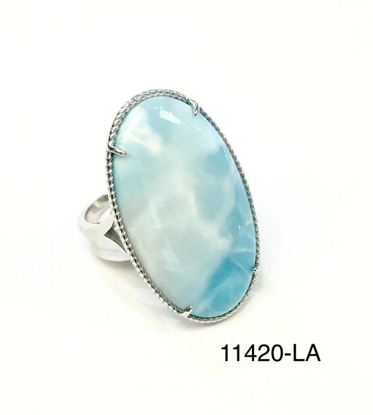 925 STERLING SILVER LARIMAR BIG OPAL RING, 11420-LA