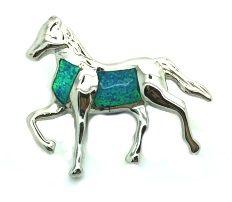 925 STERLING SILVER LAB OPAL HORSE PENDANT- 33OP14-K5