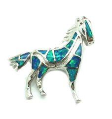 925 SILVER LAB INLAID OPAL HORSE PENDANT- 33OP11-K5
