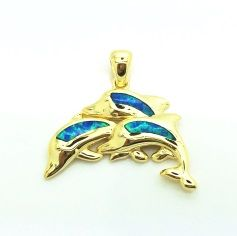 925 SILVER LAB INLAID OPAL DOLPHIN PENDANT- 33OP104-K5