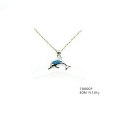 925 SILVER LAB INLAID OPAL SMALL DOLPHIN PENDANT- 33080-K5