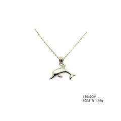 925 SILVER LAB INLAID OPAL SMALL DOLPHIN PENDANT- 33080-K17