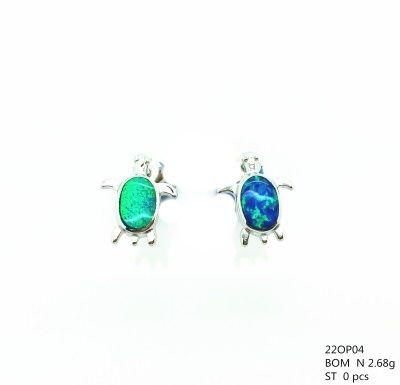 925 SILVER LAB INLAID OPAL SMALL TURTLE STUD EARRINGS - 22OP04-K5