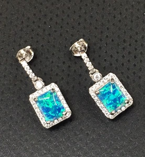 925 SILVER LAB OPAL SQUARE MICRO SETTING EARRINGS - 22ST04-K5