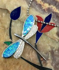 925 ST, SILVER CREATED INLAID OPAL DRAGONFLY PENDANT- 33560-K5