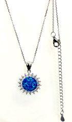 925 STERLING SILVER SUN FLOWER BLUE LAB OPAL PENDANT - 33OP139-K5