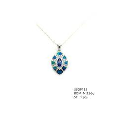 925 STERLING SILVER MARQUISE STYLE AMETHYST BLUE LAB OPAL PENDANT -33OP153-K5