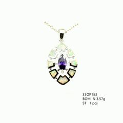 925 STERLING SILVER MARQUISE STYLE AMETHYST WHITE LAB OPAL PENDANT -33OP153-K17