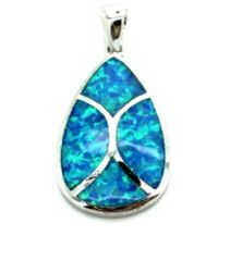 925 STERLING SILVER INLAID OVAL LAB BLUE OPAL PENDANT-33OP70-K5