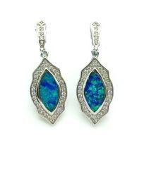 925 STERLING SILVER MIRROR FRAME BLUE LAB OPAL EARRINGS, ART WORK . 22OP30-K5