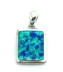 925 STERLING SILVER PLAIN SQUARE BLUE LAB OPAL PENDANT,33OP147-K5