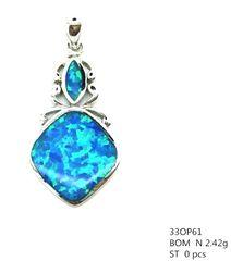 925 STERLING SILVER ART DECO, MARQUISE STYLE BLUE LAB OPAL PENDANT-33OP61-K5