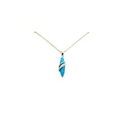 925 STERLING SILVER CONE SHAPE TURQUOISE PENDANT-33049-TQ
