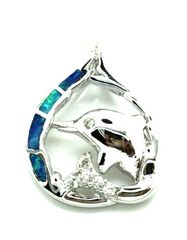 925 sterling silver inlaid DOLPHIN lab blue opal pendant-33op42-K5