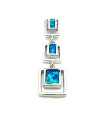 925 sterling silver inlaid cube lab blue opal pendant-33op123-K5