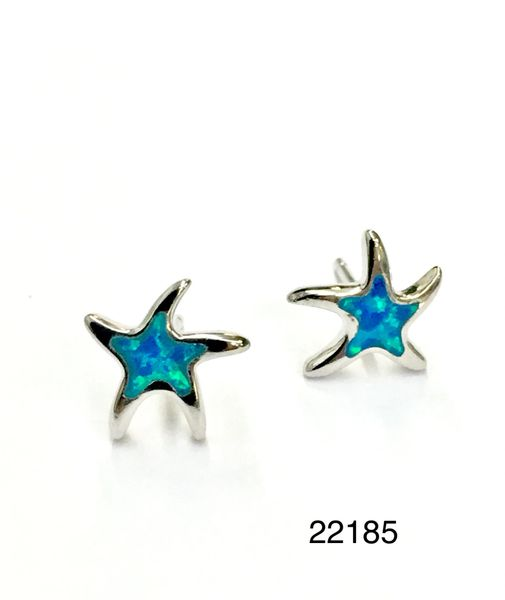 925 STERLING SILVER INLAID STAR FISH LAB BLUE OPAL STUD EARRINGS - 22185-K5