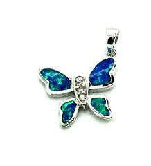925 STERLING SILVER INLAID LAB BLUE OPAL BUTTERFLY PENDANT-33OP55-K5