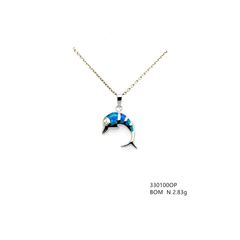 925 STERLING SILVER INLAID LAB BLUE OPAL DOLPHIN PENDANT-33100-K5