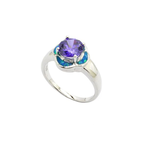 925 STERLING SILVER FLOWER LAB BLUE OPAL RING WITH AMETHYST-11OP107-K5-AMT