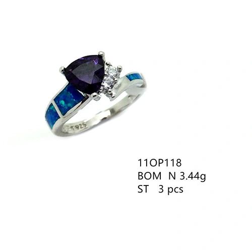 925 STERLING SILVER LAB BLUE OPAL TRIANGLE RING WITH AMETHYST-11OP118-K5-AMT