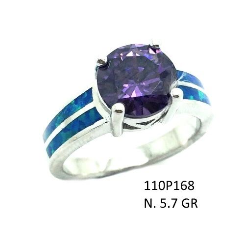 925 STERLING SILVER LAB BLUE OPAL ROUND WITH AMETHYST-11OP168-K5-AMT