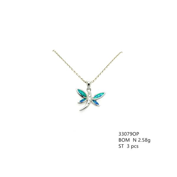 925 STERLING SILVER SMALL DRAGONFLY INLAID LAB BLUE OPAL PENDANT- 33079-K5