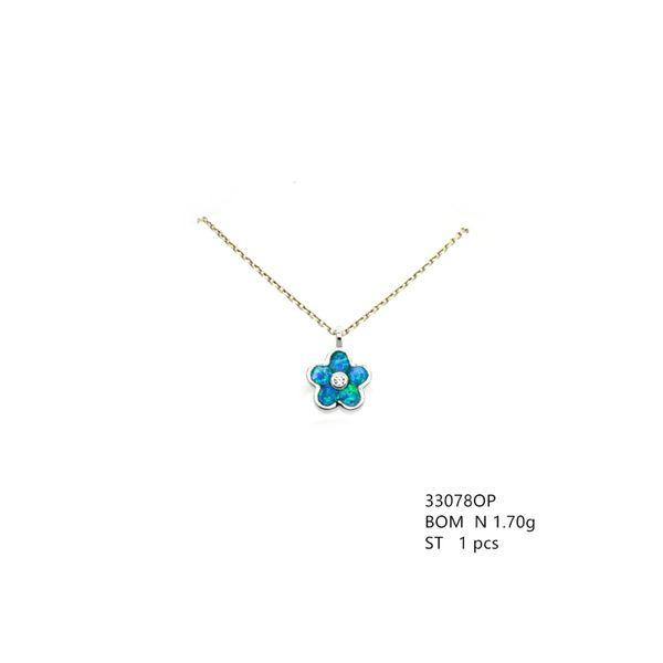 925 STERLING SILVER SMALL HAWAIIAN FLOWER INLAID LAB BLUE OPAL PENDANT- 33078-K5